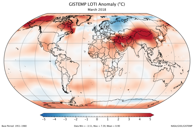 A global map of the March 2018 LOTI (land-ocean temperature index) anomaly, relative to the 1951-1980 March average. View larger image.