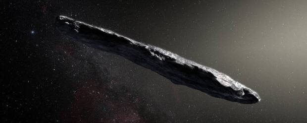 Artist's concept of interstellar asteroid 1I/2017 U1 ('Oumuamua) as it passed through the solar system after its discovery in Oc