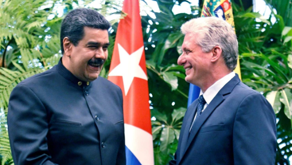 Cuba will be in solidarity with Venezuela despite U.S. sanctions. Venezuelan President Nicolas Maduro with Cuban President Miguel Diaz-Canal